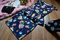 Костюм кофта-баска + юбка яркий принт Голубые розы