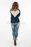 Кофта свитер комбинированная спинка  р.44-46 цвет темно-синий 19-2