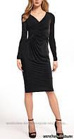Платье со сложной драпировкой, длинный рукав, цвет черный дымчатый, Турция