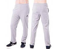 Спортивные штаны с логотипом в стиле Адидас (Adidas) мужские трикотажные светло серые прямые Украина