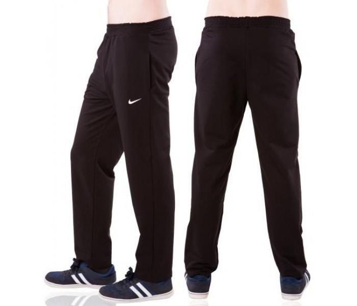Спортивні штани з логотипом в стилі Найк (Nike) чоловічі трикотажні чорні прямі Україна