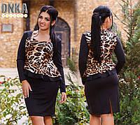 Платье женское с баской Лео батал № 355.2 Гл