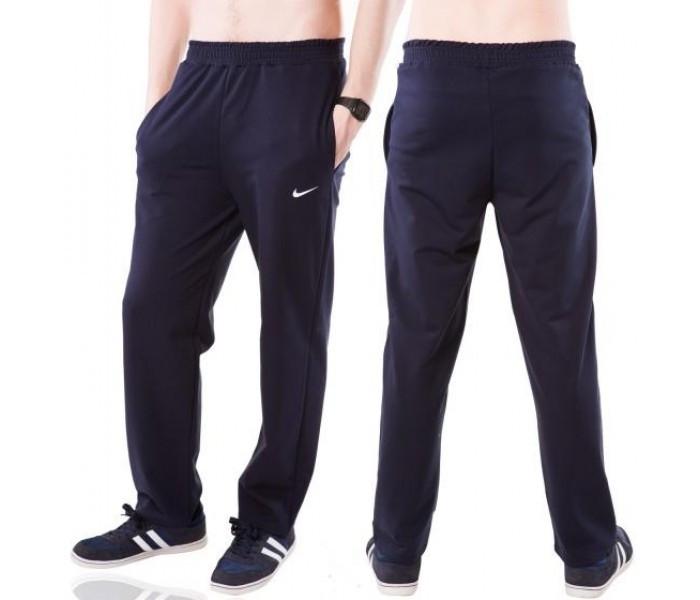 Спортивные брюки с логотипом в стиле Найк (Nike) мужские трикотажные темно синие прямые Украина