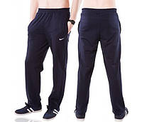 Спортивные брюки с логотипом Найк (Nike) мужские трикотажные темно синие прямые Украина