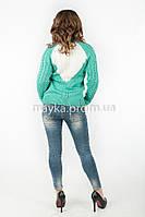 Кофта свитер комбинированная спинка  р.44-46 цвет бирюзовый 19-5