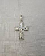 Серебряный крестик с распятием GS и цирконами, фото 1
