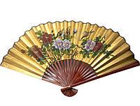 Веер с цветами золотистый