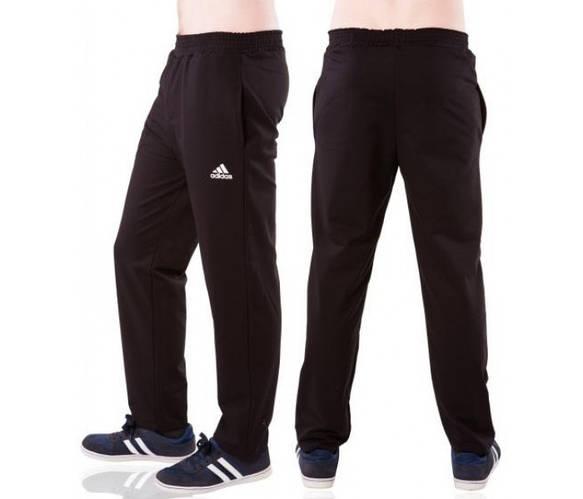 Спортивные штаны с логотипом Адидас (Adidas) мужские трикотажные черные прямые Украина