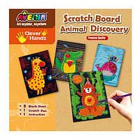 Набор для гравировки Avenir Clever Hands Scratch Board Animal Discover, Bino