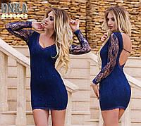 Платье короткое 344 гипюр стразы (Гл)