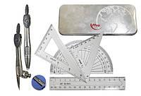 Готовальня MAX, (2 метал. циркуля, карандаш, точилка, резинка, линейка(15см), 3 транспортир)