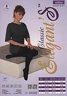 Колготки женские х/б Elegant's Classic Cotton 400 Den, 2, 3, 4, 5 размеры, чёрные, без коробки