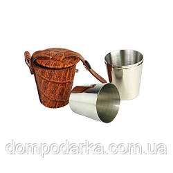 Подарочный набор металлических стаканов в кожаном чехле