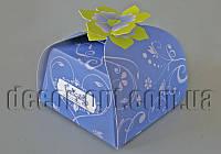 Бонбоньерка с цветком голубая 6,5х6,5х6,5см