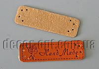 Кожаная бирка HandMade с девочкой 5х1,5см 20шт.