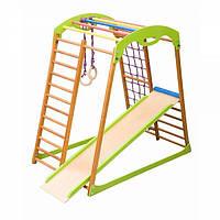 Детский игровой спортивный комплекс для дома «BabyWood» с горкой, рукоходом, сеткой, кольцами ТМ SportBaby