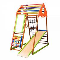 Детский игровой спортивный комплекс для дома «KindWood Plus» с горкой, рукоходом, счетами, кольцами ТМ SportBaby