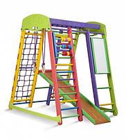 Детский игровой спортивный комплекс для дома «Акварелька» с горкой, рукоходом, счетами, кольцами ТМ SportBaby