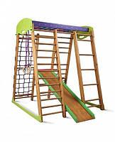 Детский игровой спортивный комплекс для дома «Карапуз мини» с горкой, рукоходом, сеткой, кольцами ТМ SportBaby