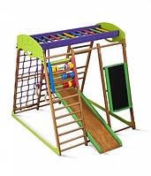 Детский игровой спортивный комплекс для квартиры «Карамелька» с горкой, рукоходом, счетами, кольцами ТМ SportBaby