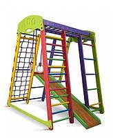 Детский спортивный игровой комплекс для дома «Акварелька мини» с горкой, рукоходом, сеткой, кольцами ТМ SportBaby