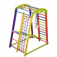 Детский спортивный игровой комплекс для дома «Кроха - 2 мини» с горкой, рукоходом, сеткой, кольцами ТМ SportBaby