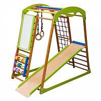 Игровой детский спортивный комплекс для дома «BabyWood Plus» с горкой, рукоходом, счетами, кольцами ТМ SportBaby