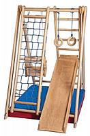 Игровой спортивный уголок ребенку для дома «Малютка-2» с горкой, сеткой, кольцами ТМ SportBaby