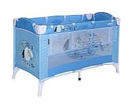 Детская кровать-манеж ARENA 2 LAYERS (сумка, кольца)  ТМ Lorelli (Bertoni) синий