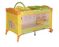 Детская кровать-манеж ARENA 2 LAYERS PLUS с пеленатором  ТМ Lorelli (Bertoni) желтый/салатовый