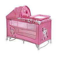 Детская кровать-манеж NANNY 2 LAYER PLUS ROCKER PINK KITTEN (пеленатор, козырек, матрас) ТМ Lorelli/Bertoni