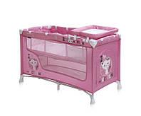 Детская кровать-манеж NANNY 2 LAYER (2 уровня, сумка) ТМ Lorelli (Bertoni)  розовый