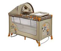 Детская кровать-манеж NANNY 2 LAYER PLUS ROCKER BEIGE SAFARI (пеленатор, козырек, матрас) ТМ Lorelli/Bertoni