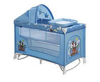 Детская кровать-манеж NANNY 2 LAYER PLUS ROCKER BLUE ADVENTURE (пеленатор, козырек, матрас) ТМ Lorelli/Bertoni