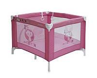 Детская кровать-манеж PLAY STATION (сумка, кольца)  ТМ Lorelli (Bertoni)  розовый