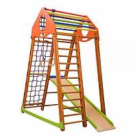 Спортивный игровой комплекс детский для дома «BambinoWood» с горкой, мольбертом, рукоходом, счетами ТМ SportBaby