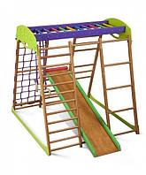 Спортивный детский игровой комплекс для дома «Карамелька мини» с горкой, рукоходом, сеткой, кольцами ТМ SportBaby