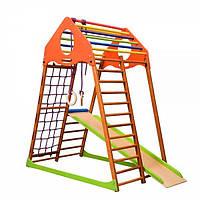 Спортивный игровой комплекс детский для дома «KindWood» с горкой, рукоходом, сеткой, кольцами ТМ SportBaby