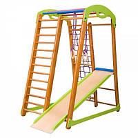 Спортивный игровой комплекс детский для дома с горкой, рукоходом, сеткой, кольцами ТМ SportBaby