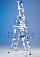 Лестница трехсекционная алюминиевая профессиональная SVELT EURO 3x16 ступеней (112240)