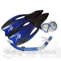 Набор для плавания маска стекло силикон+трубка с клапаном+ласты облегченные.  Лучшая цена!