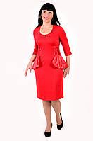 Платье приталенное , на полную фигуру,отделка атласом , трикотаж, платье для полной молодежи,Пл 780350.