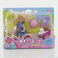 Кукла маленькая с велосипедом и тележкой с собачкой под слюдой (ОПТОМ) K899-13