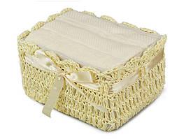 Набор полотенец для лица 30Х30 см кремовые 2 шт в плетенной коробке 813-011