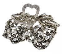 Краб металлический со стразами под серебро