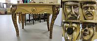 Деревянный стол с резьбой