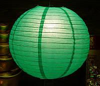 Фонарь бумажный шар темно-зеленый