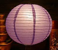 Фонарь бумажный шар сиреневый