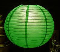 Фонарь бумажный шар зеленый