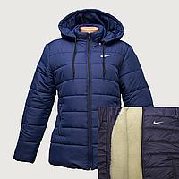 Куртка женская темно-синяя на овчинке K225H